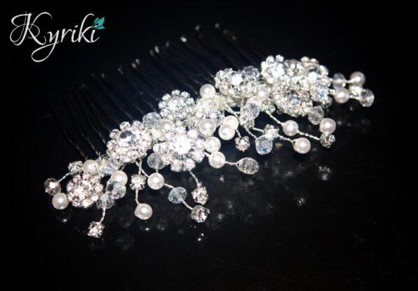 'MELANIE' DIAMONTE FLOWER, PEARL & CRYSTAL COMBWM-IMG_0560